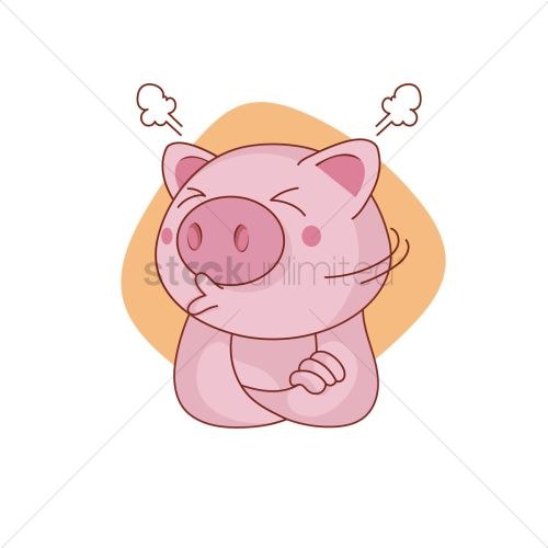 small resolution of 1300x1300 pig character sulking vector image