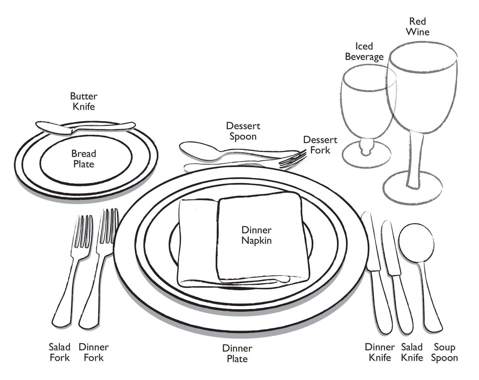 Place Setting Drawing At Getdrawings