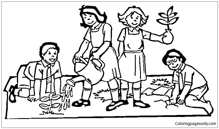 Man Planting Tomatoes Coloring Page