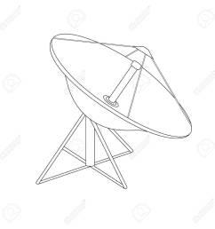 1300x1300 raster illustration satellite dish antenna outline drawing radar [ 1300 x 1300 Pixel ]