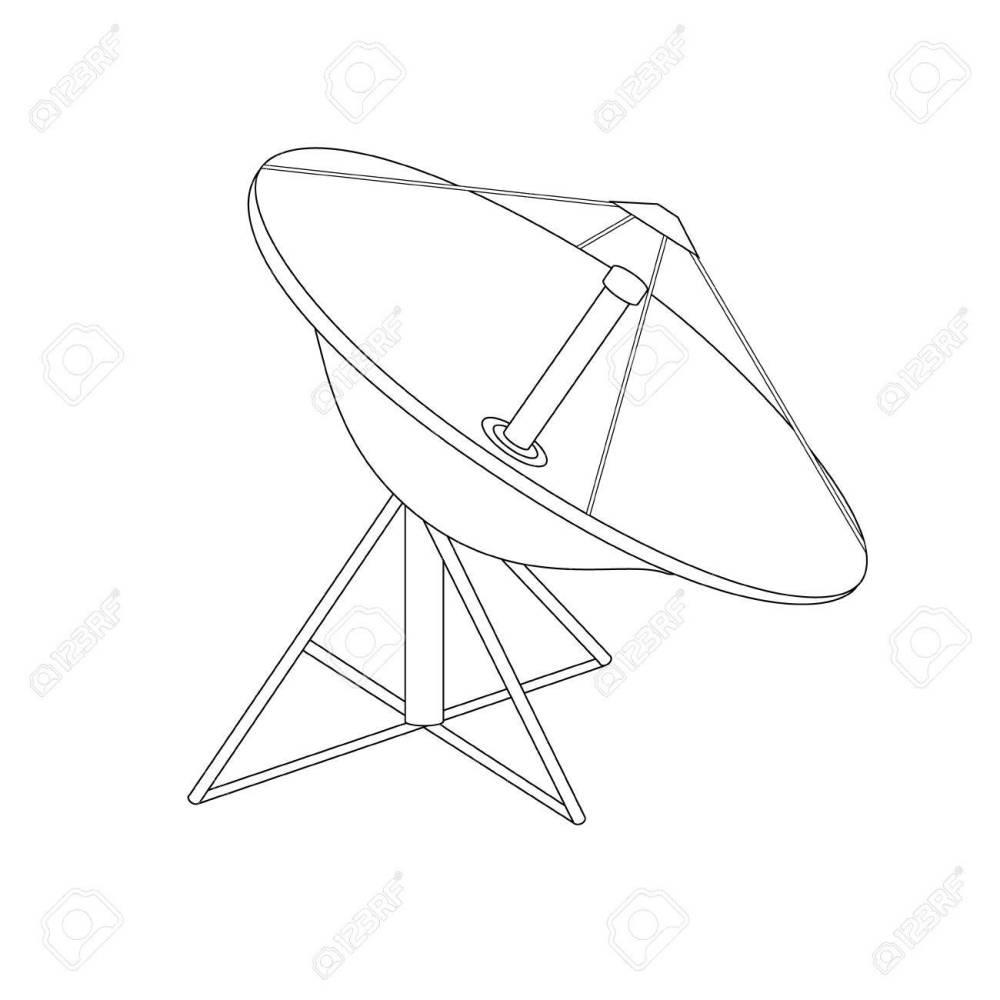 medium resolution of 1300x1300 raster illustration satellite dish antenna outline drawing radar