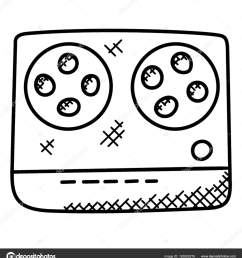1520x1700 simple hand drawn tape recorder which playing cassettes recording [ 1520 x 1700 Pixel ]