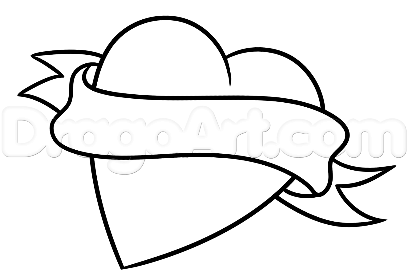 Ribbon Outline Drawing At Getdrawings
