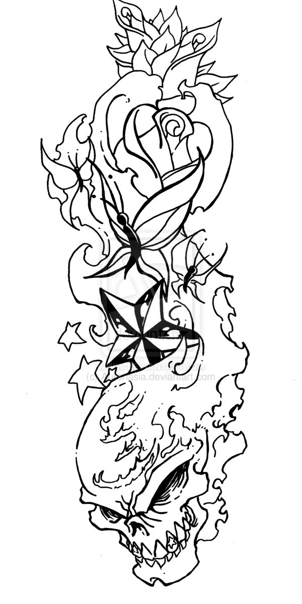 Rose Line Drawing Tattoo Designs