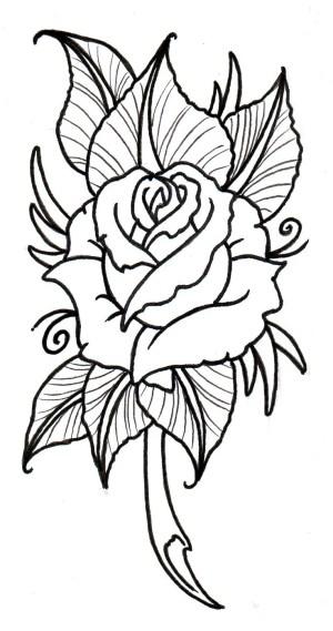 easy drawing roses rose trace flower drawings getdrawings