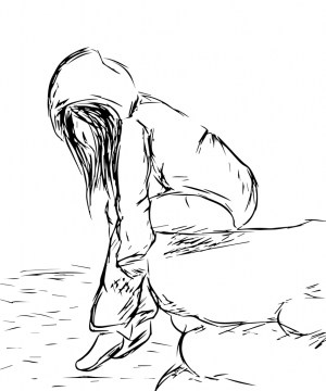 sad anime drawing drawings easy pencil getdrawings