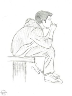 sad drawing sketch alone sketches boy lonely getdrawings drawings breakup guy friendship sitting pencil depressed simple paintingvalley doll anime very