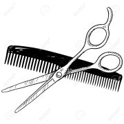 scissors and comb drawing