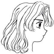 short curly hair drawing