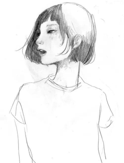 Girl Drawing Tumblr Short Hair