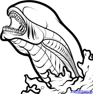 alien drawing draw xenomorph tattoo chestburster queen head easy simple line pages facehugger step aliens coloring dragoart google steps sketch