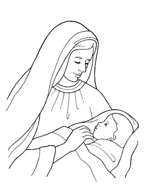 jesus mary drawing drawings christ simple pencil holding lds pages clipart coloring birth born sketch nativity child clip sharing christmas
