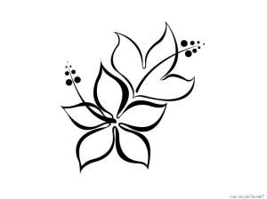 simple flower line drawing drawings flowers hawaiian getdrawings