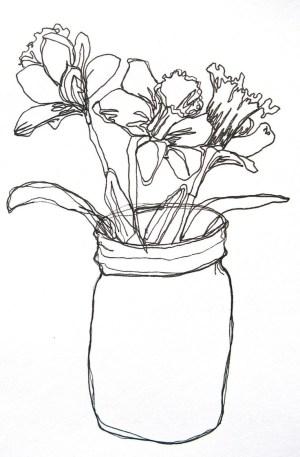 line flower simple drawing drawings vase sketches getdrawings