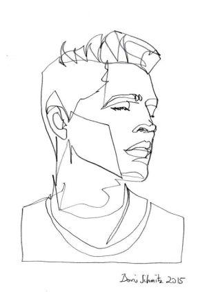 line drawing face continuous drawings simple contour single portrait faces boris schmitz artists sketch illustration sketches outline gaze paintings portraits