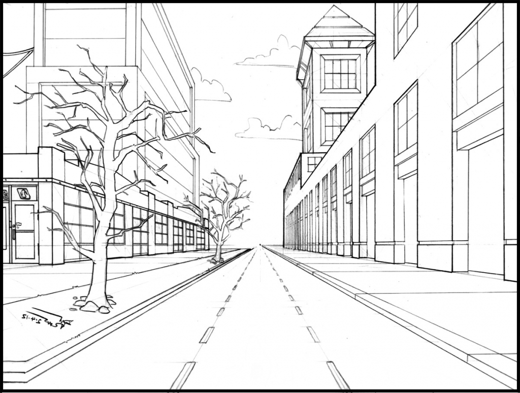 Simple One Point Perspective Drawing at GetDrawings.com