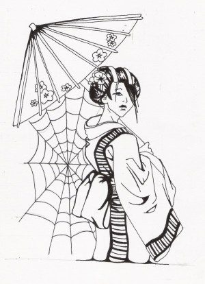 samurai geisha tattoo drawings drawing japanese tattoos designs simple umbrella female holding rick sketches stencil getdrawings person bub tatu colorful