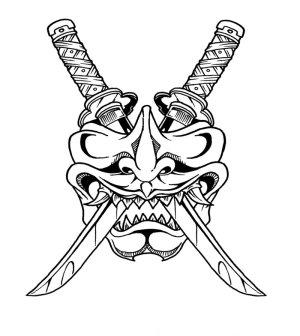 samurai drawing simple mask getdrawings