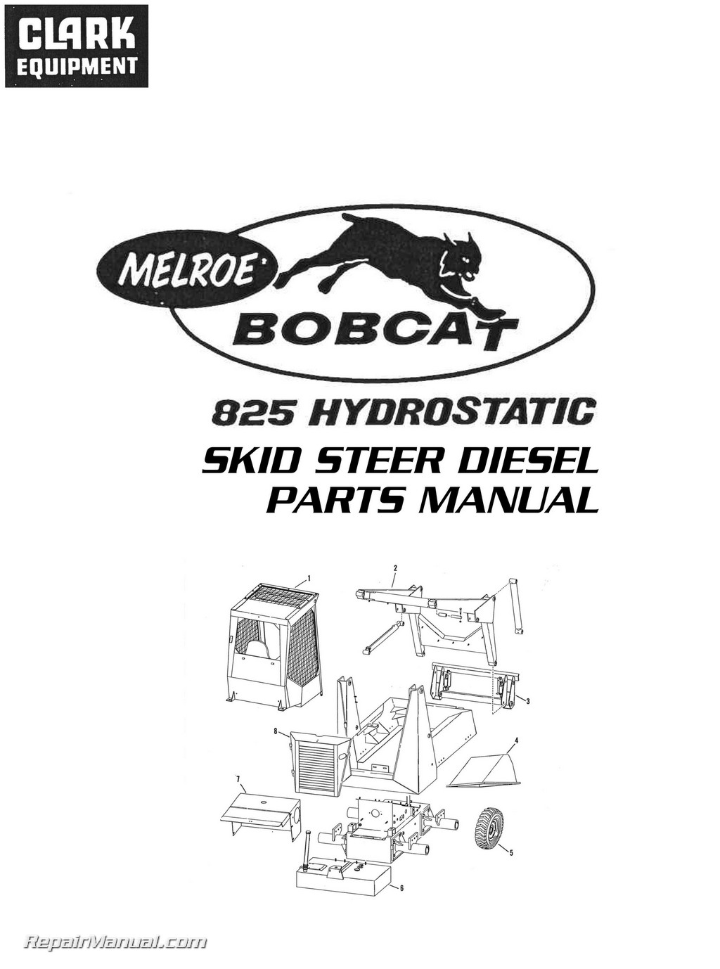 hight resolution of 1024x1378 clark bobcat 825 hydrostatic skid steer diesel parts manual