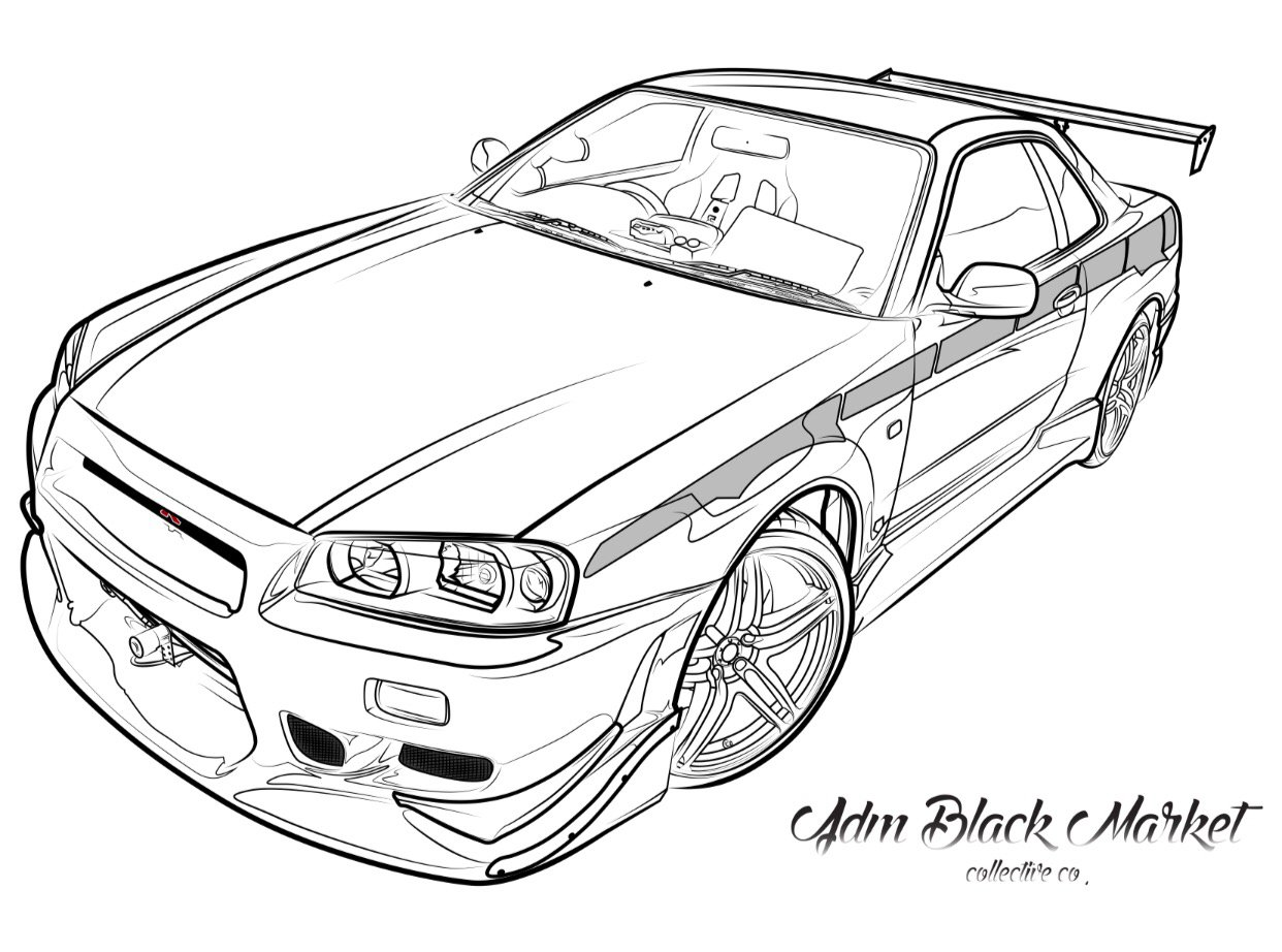 Skyline R34 Drawing At Getdrawings