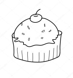 1024x1024 cup cake sketch in black and white stock vector atthameeni [ 1024 x 1024 Pixel ]