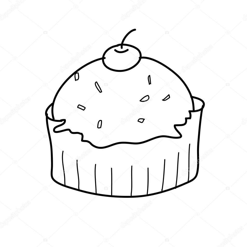 hight resolution of 1024x1024 cup cake sketch in black and white stock vector atthameeni