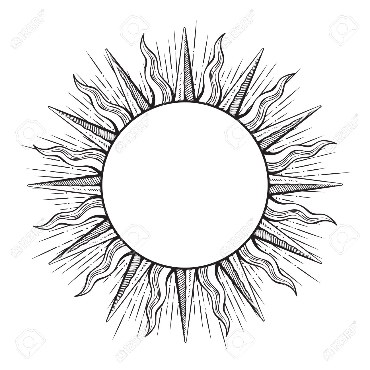 hight resolution of 1300x1300 hand drawn etching style frame in a shape of sun rays vector