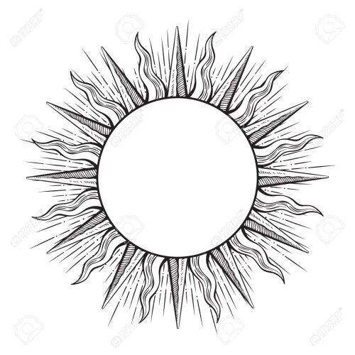 small resolution of 1300x1300 hand drawn etching style frame in a shape of sun rays vector