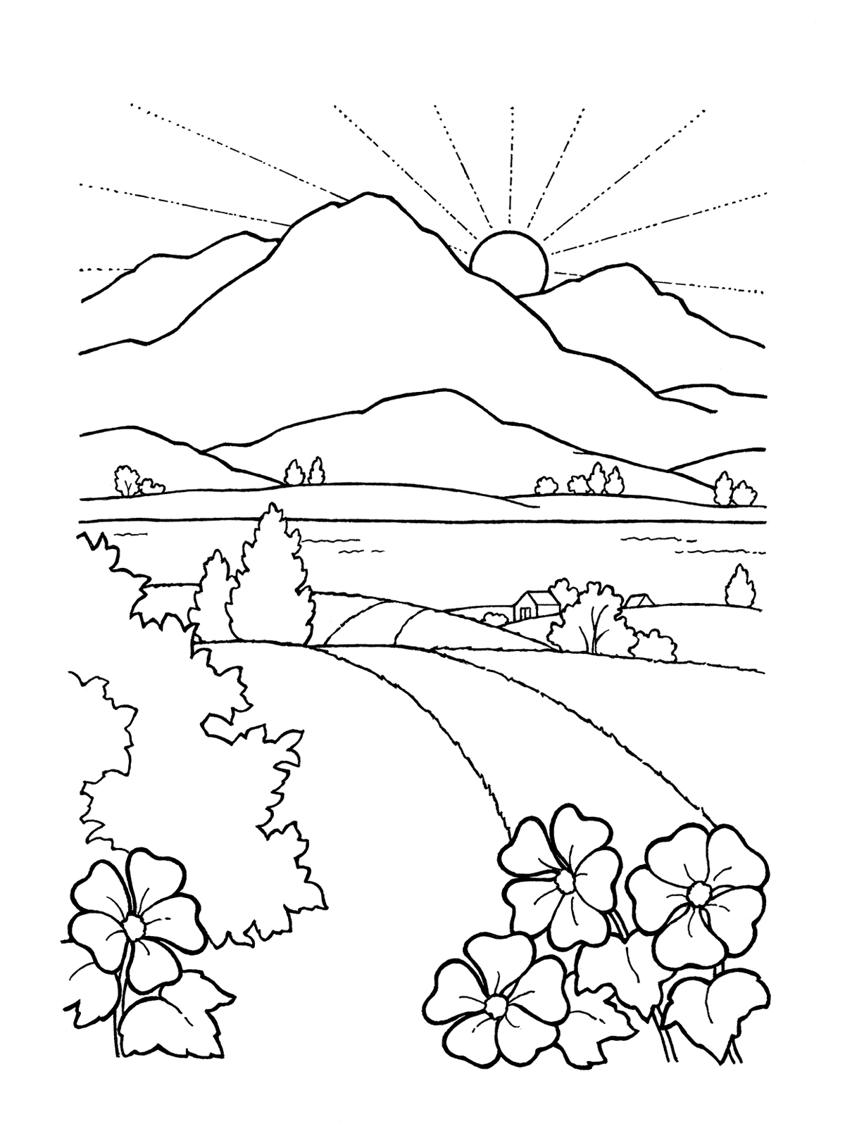 Sunset Drawing Black And White At Getdrawings