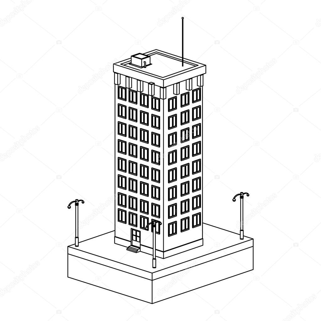 Tall Building Drawing At Getdrawings