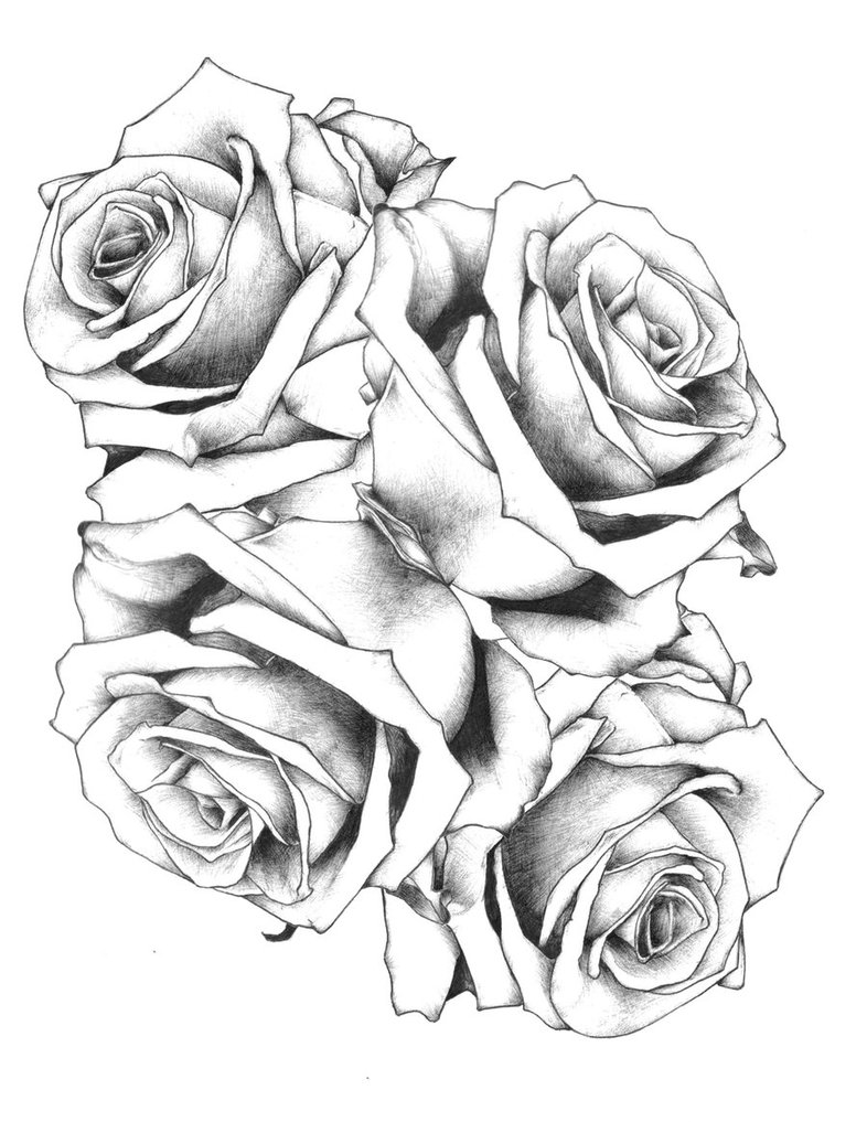 Black And White Tribal Rose Tattoo