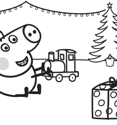 1392x1063 george plays with xmas train coloring page free printable [ 1392 x 1063 Pixel ]