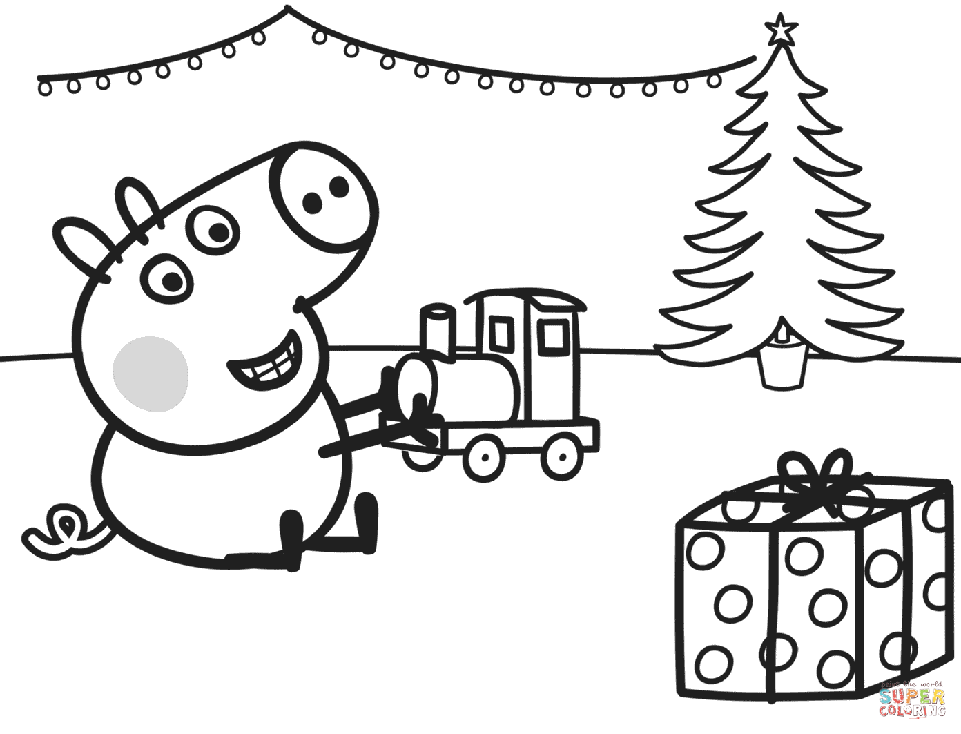 hight resolution of 1392x1063 george plays with xmas train coloring page free printable