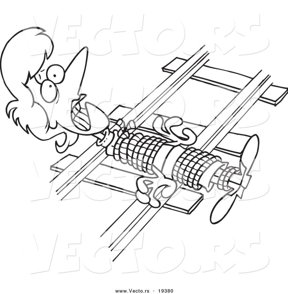 medium resolution of 1024x1044 vector of a cartoon damsel in distressed tied to railroad tracks