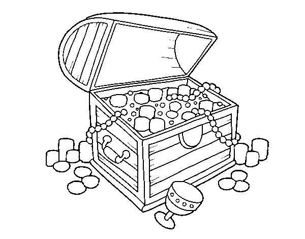 Sunken Treasure Chest Coloring Page Sketch Coloring Page