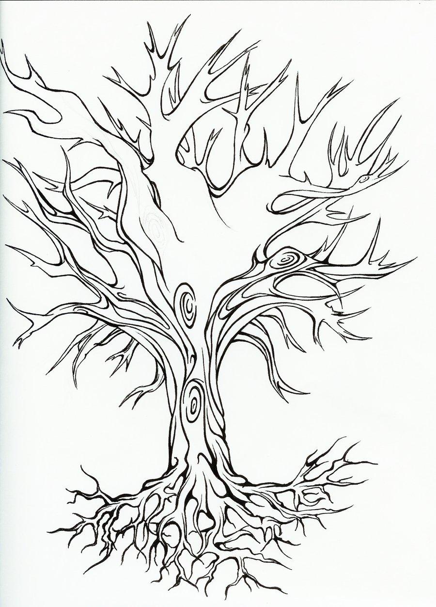 Dead Oak Tree Tattoo
