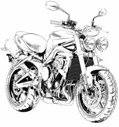 900x891 2011 triumph street triple black and white motorcycle drawing by [ 900 x 891 Pixel ]