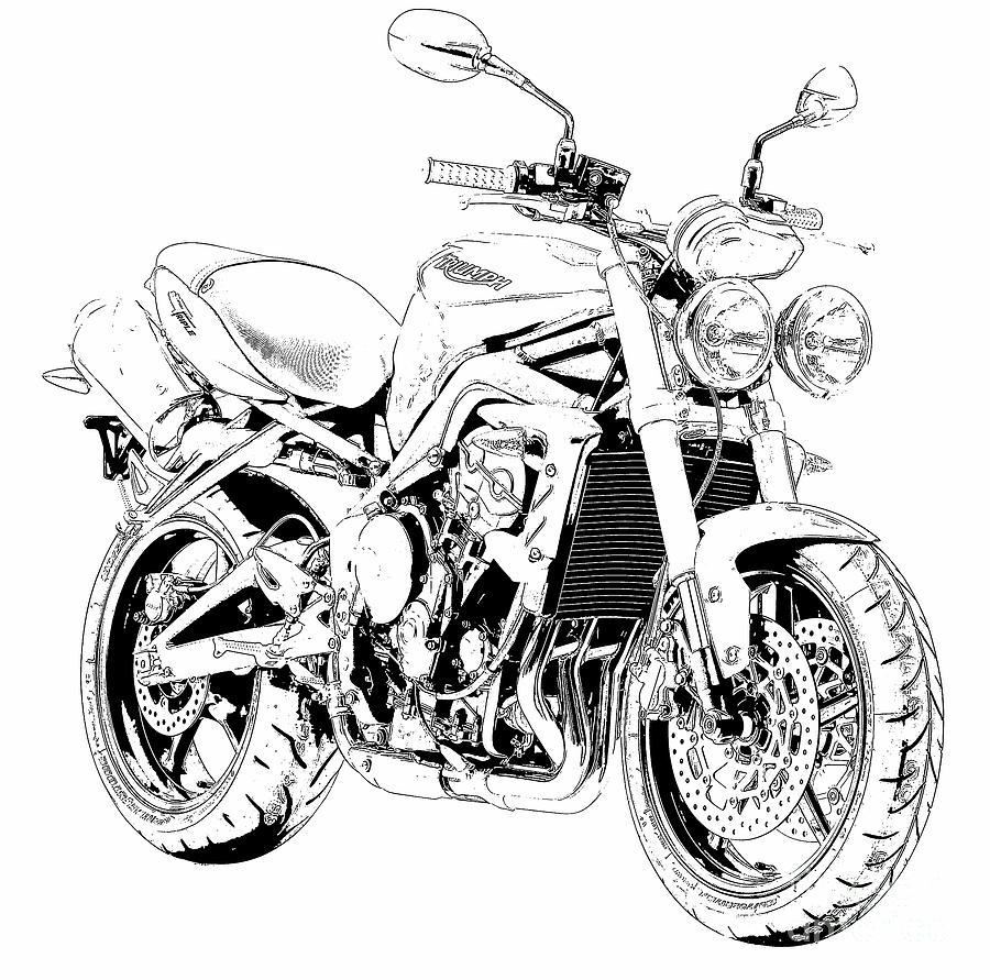 hight resolution of 900x891 2011 triumph street triple black and white motorcycle drawing by