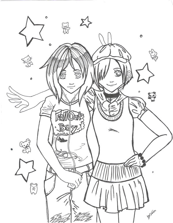 Best Friends Sketch Best Pencil Drawing Of Anime Anime