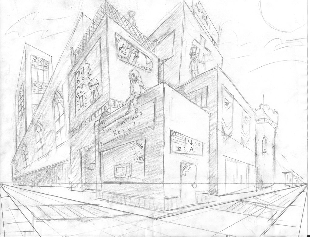 Two Point Perspective Building Drawing at GetDrawings.com