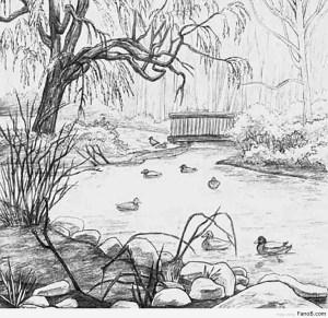 drawing scenery village nature riverside getdrawings