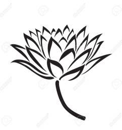 1300x1300 floral water lily vector line style royalty free cliparts [ 1300 x 1300 Pixel ]