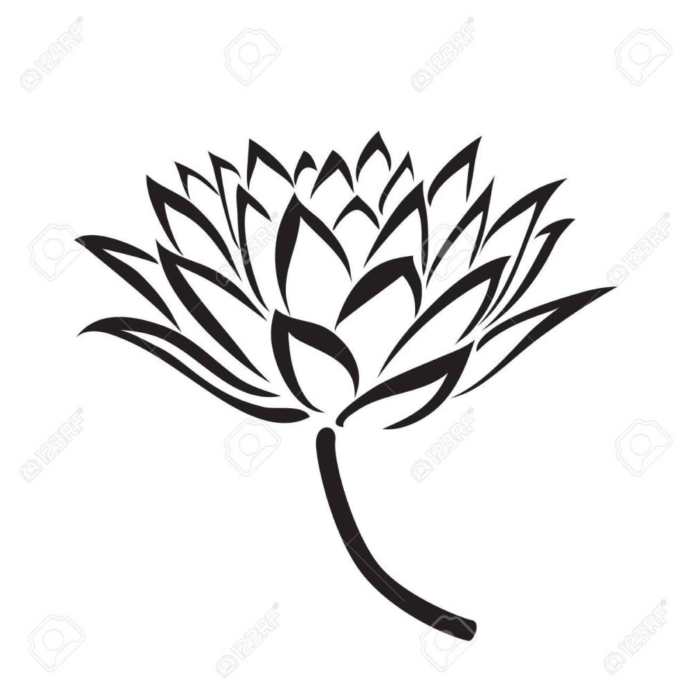 medium resolution of 1300x1300 floral water lily vector line style royalty free cliparts