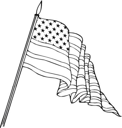 Waving American Flag Drawing