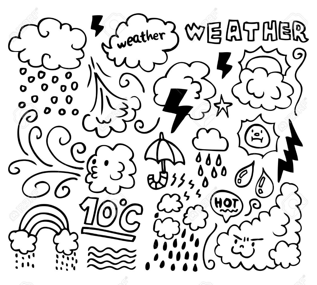 Weather Color By Numbers Worksheet For Kindergarten