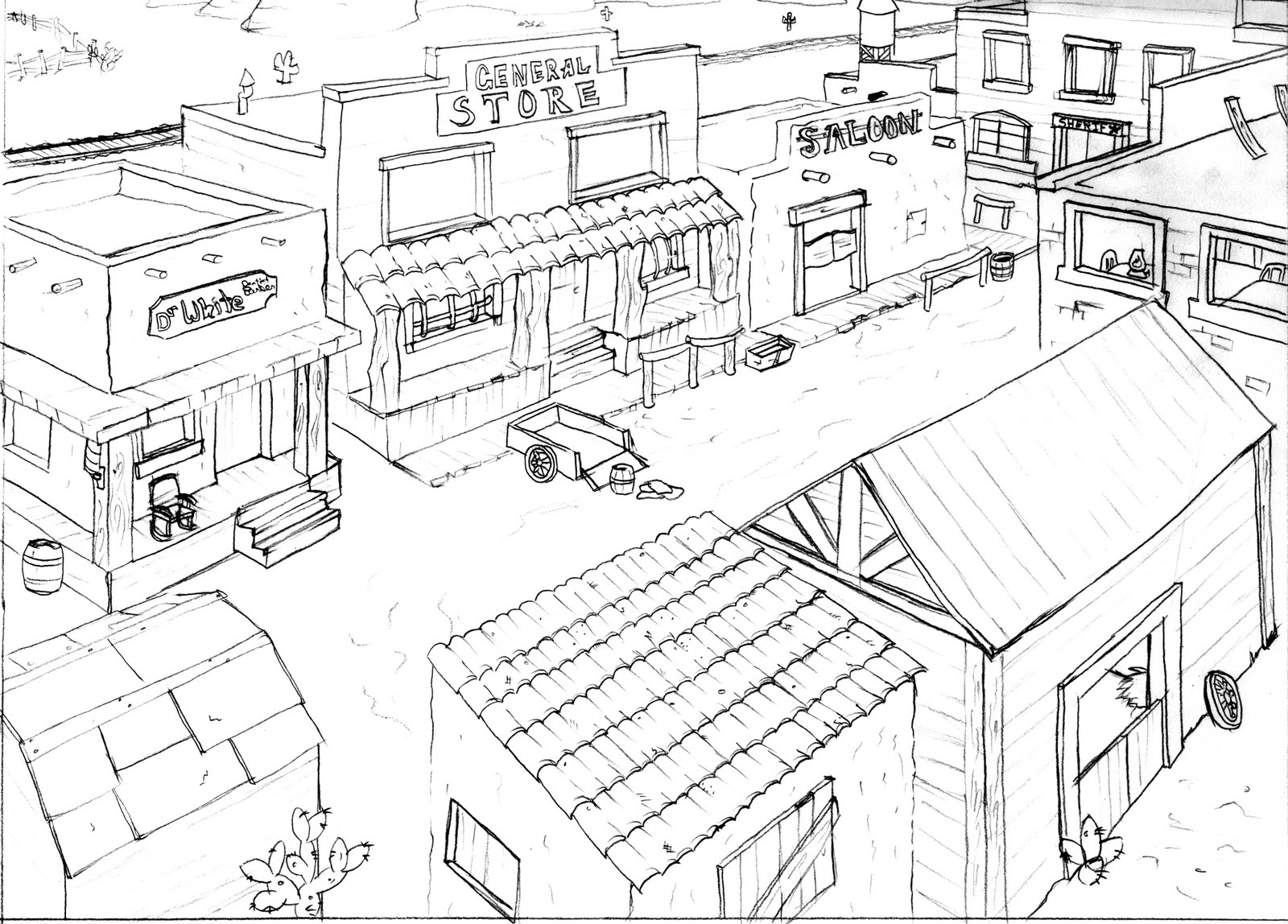 Western Town Drawing At Getdrawings
