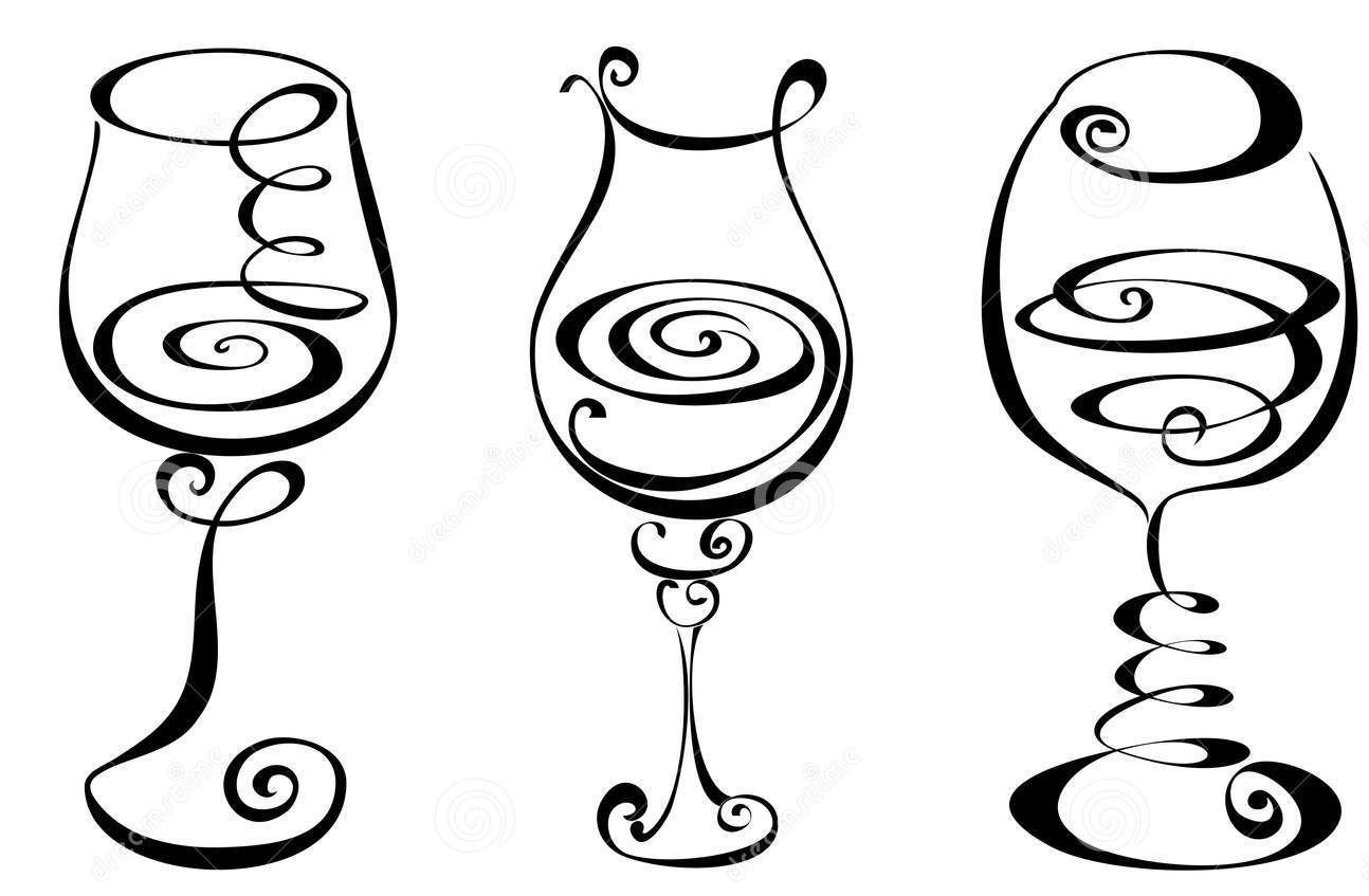 Wine Glass Line Drawing At Getdrawings