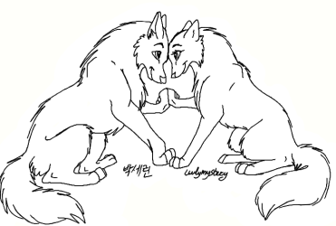 wolf drawing cute couple anime couples lineart wolves drawings deviantart simple fox coloring pages base line dog animal paint animals