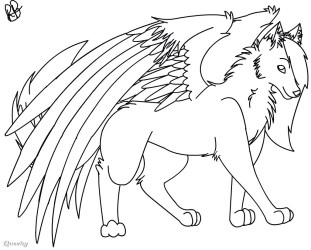 wolf wings oc drawing anime wolves draw drawings easy pencil speedpaint wing paint