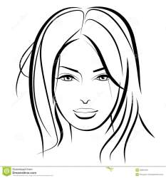 Realistic Girl Face Clipart Black And White